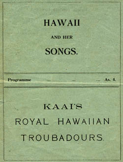 Program from a performance of Kaai's Royal Hawaiian Troubadors