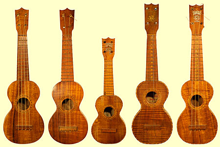 An assortment of Kumalae ukuleles, including a mini