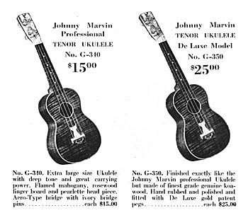 Advertisement for the Johnny Marvin ukulele, showing both the standard mahogany model, as well as the koa Prince of Wales model