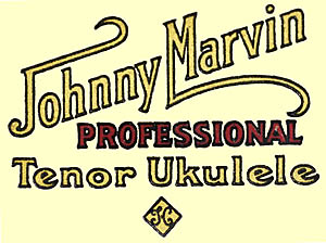 Headstock decal from the Johnny Marvin ukulele manufactured by the Harmony Musical Instruments Company, Chicago, Illinois